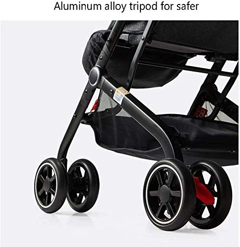 LAMTON Baby Stroller for Newborn, Stroller Stroller Shock Absorber Umbrella Light and One-Handed Foldable Comfortable Sitting, 5 (Color : Red1) LAMTON Adjustable handlebars for people of all heights can adjust the most comfortable push position Easy to fold, can be picked up in the trunk of the car, his parents urge him to go shopping, travel, walk, play and talk, or picnic outdoors The aluminum alloy triangle frame is safer, safer and more secure. 3