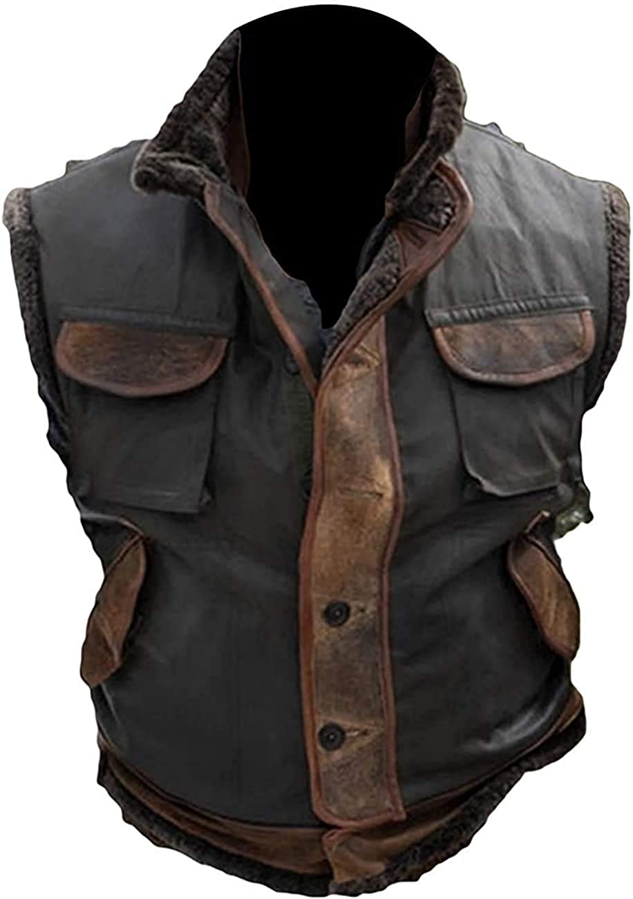 Jumanji Leather Spencer Vest Dwayne Johnson celebrity vest and jacket for men