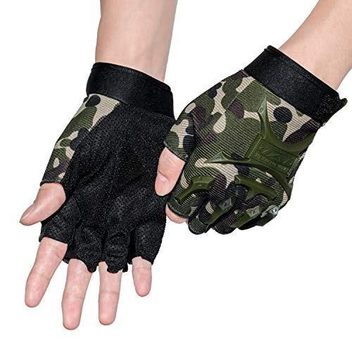 ACVCY Cycling Fingerless Gloves(Large), Half Finger Non-Slip Classic Gloves Mountain Bike Bicycle Riding Outdoor Sports Gloves (Camo)
