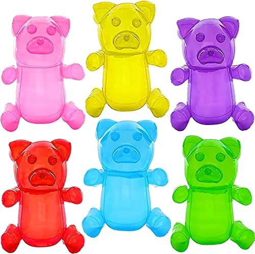 6 osos inflables de gomitas de 12 pulgadas (los colores pueden variar) juguetes inflables de piscina para niños, decoraciones de fiesta de Candyland para niñas, regalos de fiesta de cumpleaños, suministros temáticos dulces de Lollipop, flotadores únicos para piscina