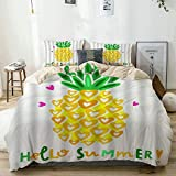 AIKIBELL Bettwäsche-Set,Beige,Gelbe Ananas tropische exotische Fruchtblätter Aquarell-Ananas-Pflanzen Hallo Sommer,1 Bettbezug 200x200 + 2 Kopfkissenbezug