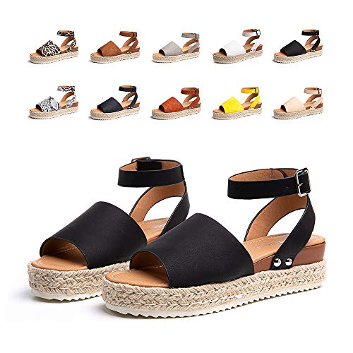 Sandalias Mujer Verano Plataforma Alpargatas Esparto Cuña Zapato Punta Abierta HebillaComodas Negro Talla 37 EU