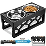 AVERYDAY Raised Dog Bowls Dog Bowls Elevated - 4 Adjustable Dog Bowl Stand with 4 Stainless Steel Dog Bowl. Perfect Adjustable Elevated Dog Bowls for Large Dogs and Senior