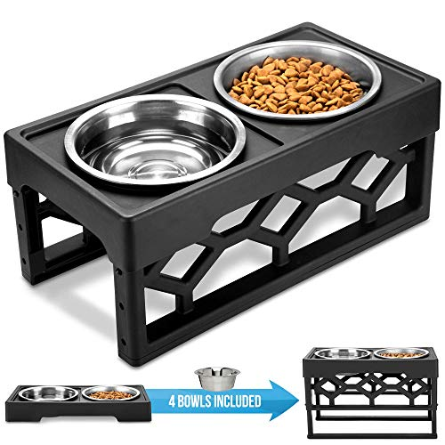 AVERYDAY Raised Dog Bowls Dog Bowls Elevated - 4 Adjustable Dog Bowl Stand with 4 Stainless Steel Dog Bowls. Perfect Dog Dish Elevated Elevated Dog Bowls for Large Dogs and Senior (Black)
