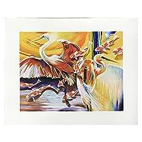 壁アート絵画インドトキコウと魚の写真リビングルームの家の装飾のためのアニマルプリントの写真フレームなし 20x30inch