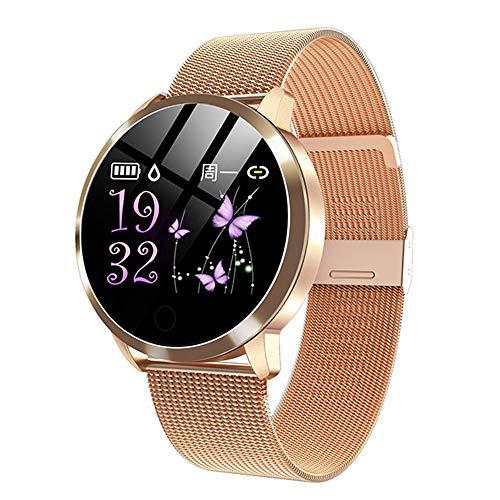 MYONLY Q8 Rose Smart Watch OLED Color Pantalla Smartwatch Mujer Moda Fitness Tracker Monitor De Ritmo Cardíaco Pulsera Paso Contador,D