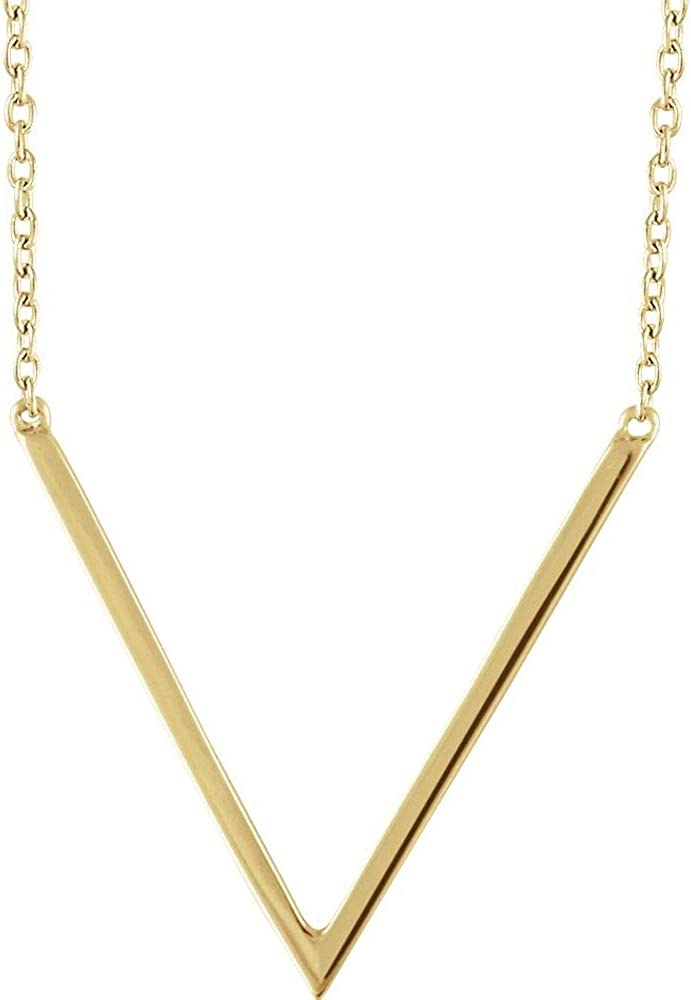 Black Bow Jewelry 14k Yellow, White or Rose Gold V Shaped Bar Necklace, 16-18 Inch
