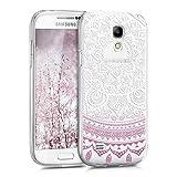 kwmobile Carcasa Compatible con Samsung Galaxy S4 Mini - Funda de TPU y Sol hindú en Violeta/Blanco/Transparente