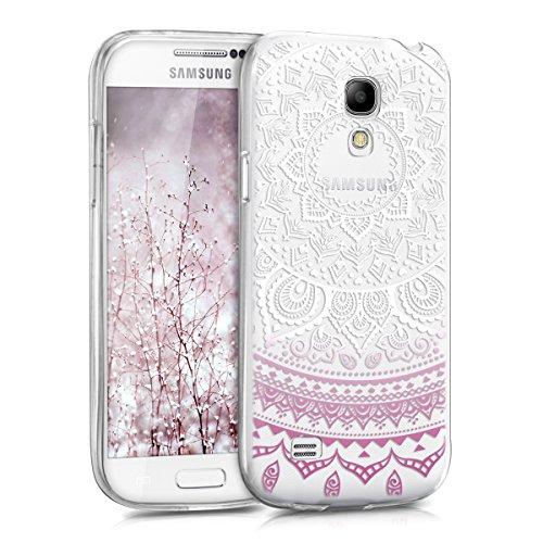 kwmobile Custodia Compatibile con Samsung Galaxy S4 Mini - Cover Silicone TPU - Protezione Back Case - Sole Indiano Viola/Bianco/Trasparente
