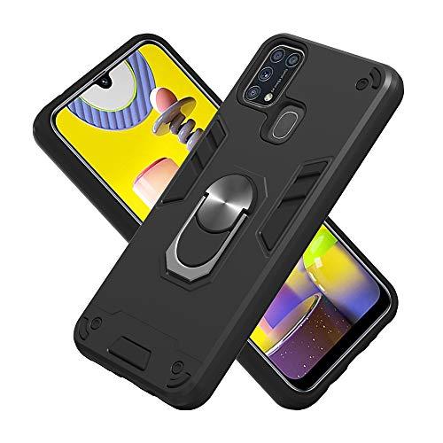 Armure Coque Samsung Galaxy M31, Boîtier PC + TPU Double Layer Housse résistant aux Chocs avec Support à Anneau Rotatif à 360 degrés (Noir)