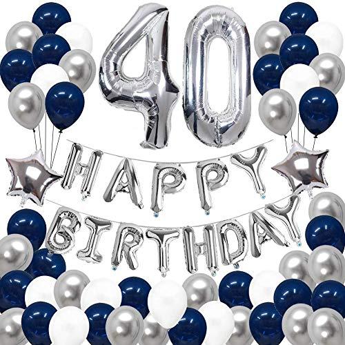 SUNPAT Decoraciones de 40 Cumpleaños, Feliz Cumpleaños Banner Kit Número 40 Set de Decoraciones de Fiesta Con Globos de Ppapel de Aluminio Azul y Astilla Para Hombres