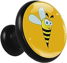 Gele Bee Cartoon Zwart Kabinet Knoppen Trekt Ronde Kristal Glas Metalen Knoppen voor Dressoir Laden Kast Deur Badkamer Kas...