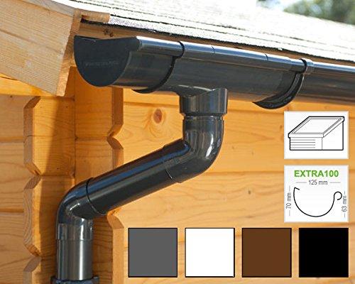 Dachrinnen/Regenrinnen Set | Pultdach (1 Dachseite) | Extra100 | in 4 Farben! (Komplettes Set bis 7.00 m, Anthrazit)