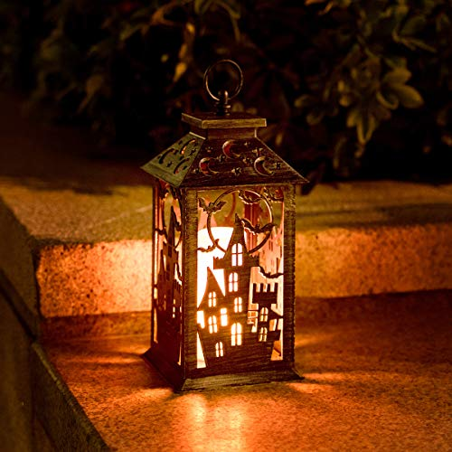 HUYIENO Halloween Lanterns with Candle Decorative Hanging Lights with Timer Function for Indoor...