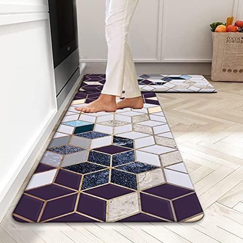 Anti Fatigue Kitchen Mat, ZVV 2pcs Standing Floor Mats Set Non-Slip PVC Foam Kitchen Rugs Ergo-Foam Comfort Kitchen Floor Mat for Home, Sink, Laundry, and Stand-up Desks (18'×47' & 18'×30')