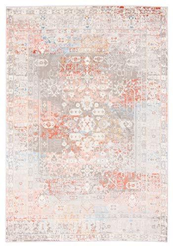 Athens G549F - Alfombra moderna degradada y brillante para salón, dormitorio, salón, blanco y rojo (160 x 220 cm)