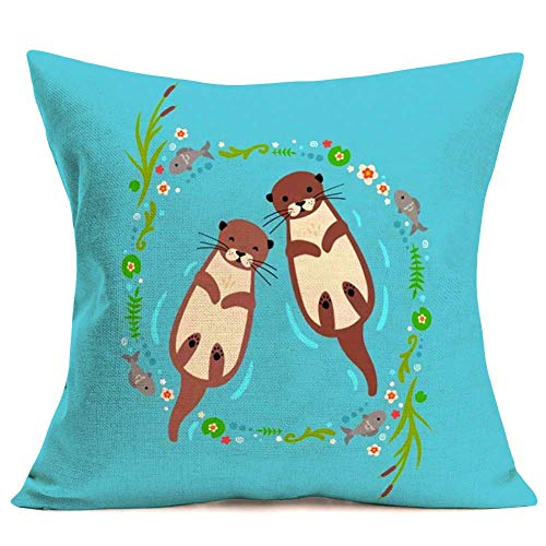 375 Fundas de almohada de 45,7 x 45,7 cm, adorables para parejas de nutria tumbadas en el mar, almohadas decorativas de lino de algodón para fundas de cojín de sofá