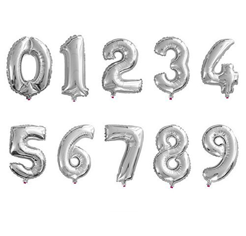 AnnoDeel 10 pcs 16inch Number Silver Balloons, 0~9 Silver Foil Balloons for Birthday Wedding Party Decorations Number Balloons