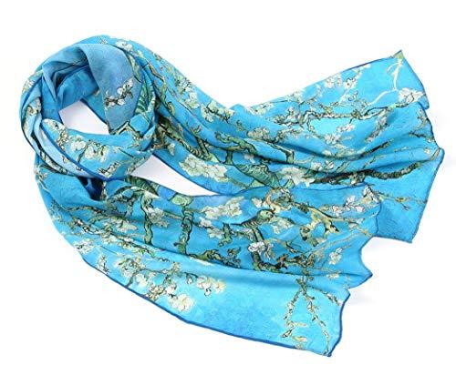 prettystern Damen Seidenschal 160 cm Malerei Kunstdrucke Art Painting 100% Seide silk Van Gogh - Blühende Mandelbaumzweige P905