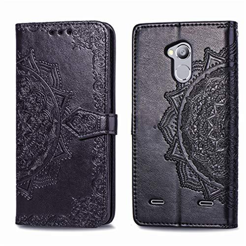 LMFULM® Hülle für ZTE Blade V7 Lite (5 Zoll) PU Leder Magnet Brieftasche Lederhülle Mandala Prägung Design Stent-Funktion Ledertasche Flip Cover für ZTE V7 Lite Schwarz