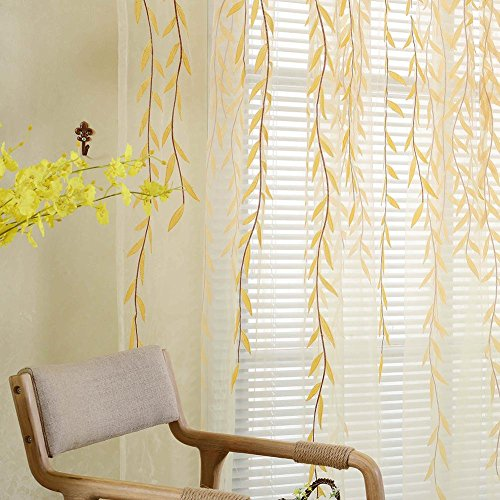 Mikolot Pastoral Willow Floral Window Curtain Bedroom Living Room Decor(Yellow)