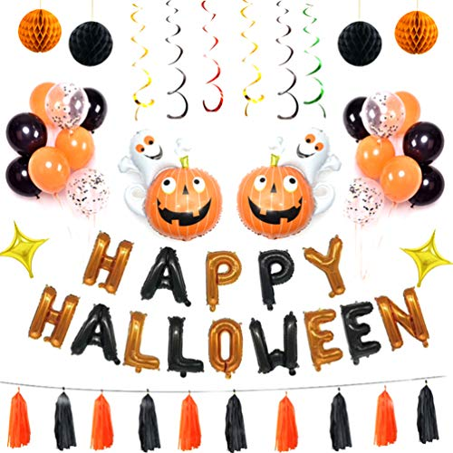 NUOBESTY 1 Set Halloween Balloons Decoration Set Aluminum Film Pumpkin Ghost Balloon Latex Balloons for Halloween Carnival Party Decor (Assorted Color)