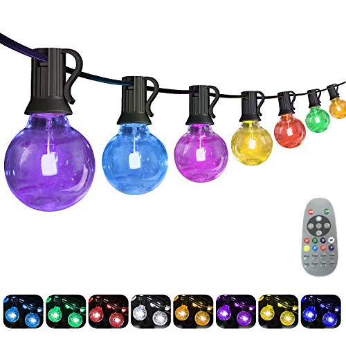 Yuusei 50Ft Colored Outdoor String Lights, Waterproof RGB LED Globe String Light with 25+1 G40 E12 Edison Bulbs and Remote Control, Dimmable Hanging Patio Lights for Garden, Party, Shop