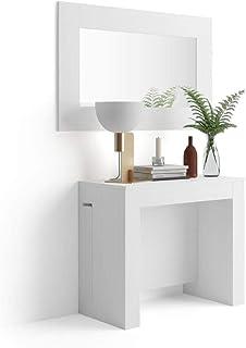 MOBILI FIVER, Table Console Extensible avec rallonges intégrées, Easy, Frêne Blanc, Mélaminé/Aluminium, Made in Italy