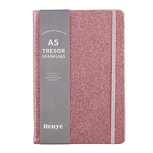 Cuaderno A5 con purpurina, tapa dura, 96 hojas de notas Jotter, diario de moda, papelería brillante para niñas y mujeres (rosa)