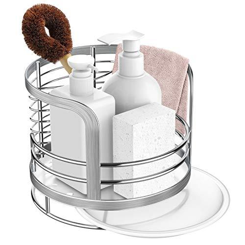 ODesign Kitchen Sink Caddy, Organizer Storage Sponge Soap Brush Holder with Drain Pan Tray Stainless Steel - Rustproof