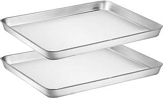 ورق پخت و پز ورق وایلون 2 - ورق پخت کوکی از جنس استیل ضد زنگ ، اندازه 16 16 12 x 1 اینچ ، غیر سمی و سنگین و آینه کاری و تمیز کردن و زنگ زدگی