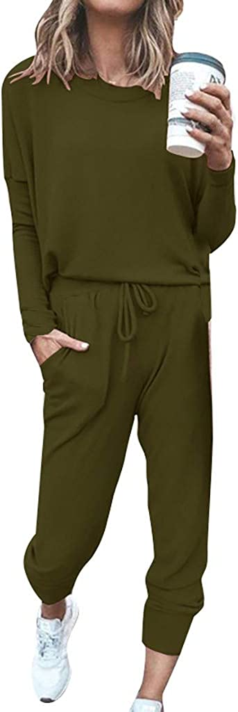 Women's Two Piece Outfit Long Sleeve Pullover With Drawstring Pants Tracksuit Jogger Set with Pockets
