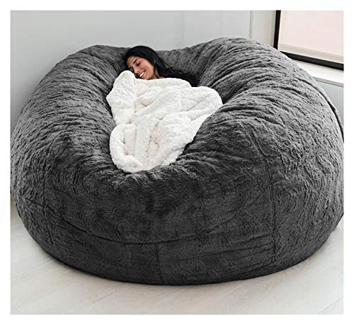 CUzzhtzy 7-foot Giant Fur Bean Bag Chair, Large Round Soft And Fluffy Artificial Fur Bean Bag For Living Room Furniture, Lazy Sofa Bed Cover (Color : Dark grey)