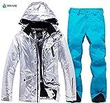 HIUGHJ Inverno Giacca Da Neve Donne Tuta Da Sci Femminile Giacca Pantaloni Antivento Impermeabile Colorato Sci Vestiti Fresco Snowboard Set, Verde, S
