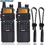 2 Pack BaoFeng UV-5R 8W High Power Tri-Power 1W/4W/8W Portable Dual Band Two-Way Radio 3800mAh Battery & ABBREE Tactical Antenna (2 X 5R8W+12.99')