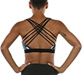 icyzone Sports Bras for Women - Activewear Strappy Padded Workout Yoga Tops Bra (M, Lotus)
