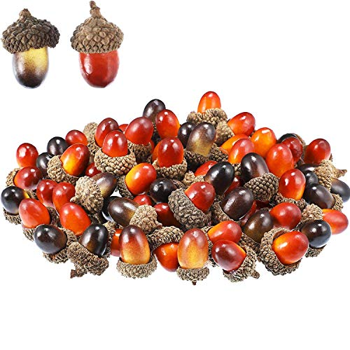 Ogquaton 100 Stücke Eicheln Decor Craft Künstliche Eicheln Gefälschte Obst Requisiten Eicheln Dekoration für DIY Handwerk Party Langlebig und Nützlich