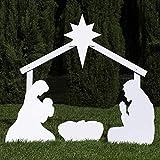 Outdoor Nativity Store Sainte Famille Ensemble de crèche d'extérieur (Standard, Blanc)