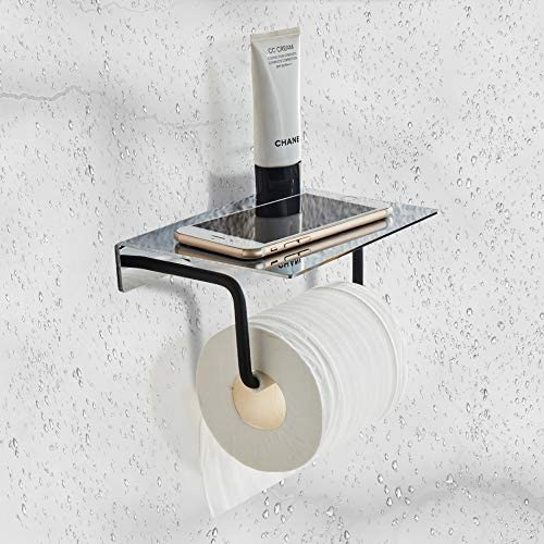 Toilet Paper Holder With Shelf Wall Mount Bathroom Tissue Holder with Patented Glue Self Adhesive product image