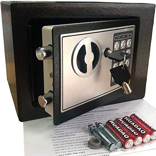 Mini-Safe Digitaler Elektronischer Tresor Sicherheitskasten Feuerfester und wasserdichter Sicherheitsschrank mit PIN-Code und Schlüssel Für Schmuck Bargeld (Schwarz)