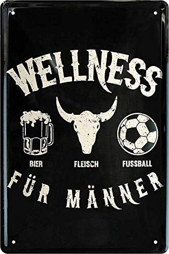 schilderkreis24 Tin Sign Funny Beer Saying 'Wellness für Männer.' Decorative Kitchen Bar Counter Beer Garden Pub Humour Funny Gift Idea Birthday Christmas 20 x 30 cm