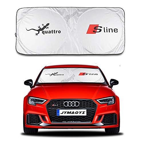 JYMAOYI for Audi Sunshade for Sline Windshield Visor Cover Car Window Sun Shade UV Protect Car Window Film for Audi A3 S3 RS3 A4 A4L RS4 RS5 A5 S4 S5 Q2L Q3