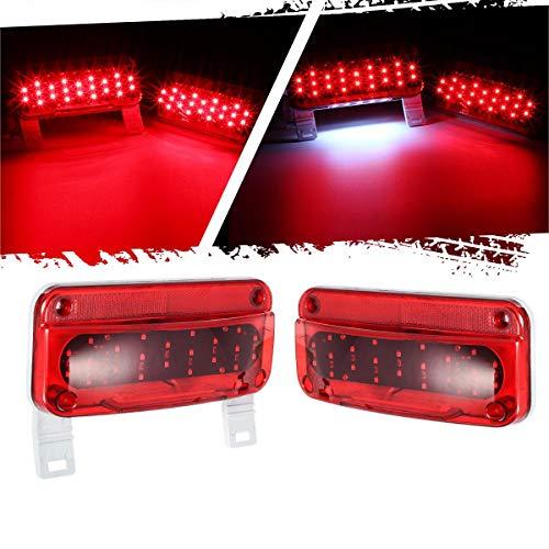 Partsam Rectangular Red LED RV Camper Trailer Stop Turn Brake Tail Lights White License Plate Light 49 LED with License Bracket Holder and White Base 12V Sealed w Reflex Surface Mount (Left + Right)