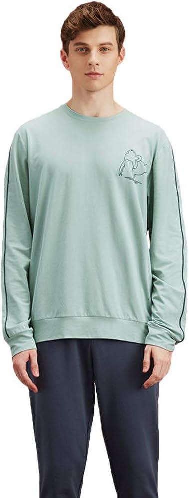 Mens Long Sleeve Cotton Pajama Set,Adult Pajamas Suit Top & Pants 2-Piece Drawstring Waistband Casual Soft Loungewear Sleepwear M-XXL,Light Green,XL