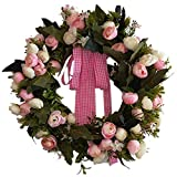 precauti - Corona de Flores de Rosas Hecha a Mano simulada de Primavera para decoración de San Valentín o Boda