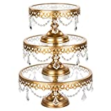 Amalfi Decor Cake Stand Set of 3 Pack with Glass Tops, Dessert Cupcake Pastry Candy Display Plate for Wedding Event Birthday Party, Round Metal Pedestal Holder with Crystals, Gold