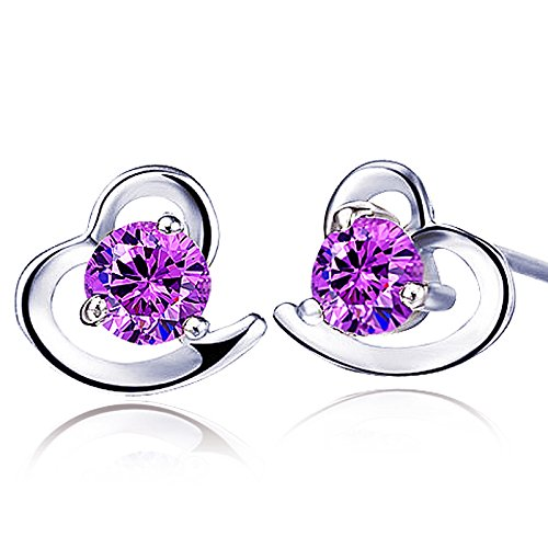 findout ladies Amethyst red pink blue white Crystal Heart sterling Silver earrings, for women girls. (Amethyst)