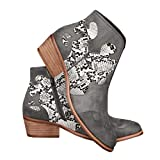 Womens Western Cowboy Ankle Boots Snakeskin Stacked Chunky Block Low Heel Zip Up Booties