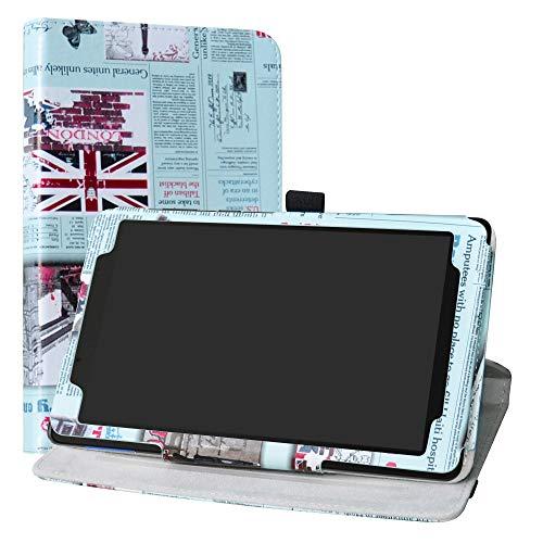 Lenovo Tab E8 HD Rotary Funda,LiuShan Giratoria 360 Grados de Rotación Carcasa con Stand Soporte Caso para 8.0' Lenovo Tab E8 HD 2018 Android Tablet,Newspaper