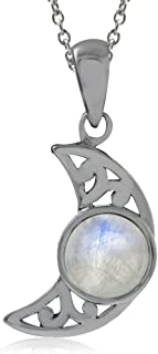 Silvershake Natural Moonstone 925 Sterling Silver Filigree Crescent Moon Pendant with 18 Inches Chain Necklace
